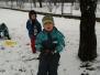 Jsme ve sněhu na zahradě
